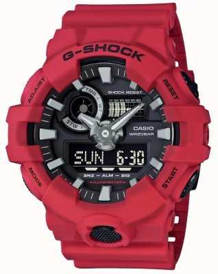 Casio Il cronografo rosso dell'allarme del g-shock maschio GA-700-4AER