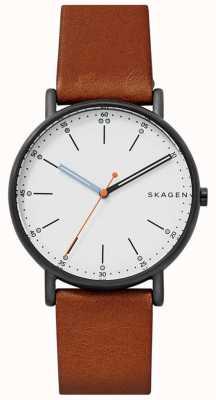 Skagen Quadrante bianco con cinturino in pelle marrone firmata da uomo SKW6374