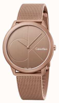 Calvin Klein Braccialetto in rete in acciaio inox marrone in oro minore K3M11TFK