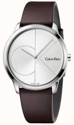 Calvin Klein Quadrante argentato in metallo cinturino in pelle marrone minima K3M211G6