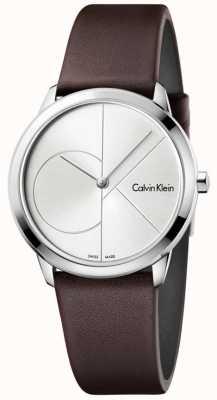 Calvin Klein Quadrante argentato in cassa di cuoio marrone minima Womans K3M221G6