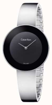 Calvin Klein Quadrante nero in bracciale in acciaio inossidabile Womans K7N23C41