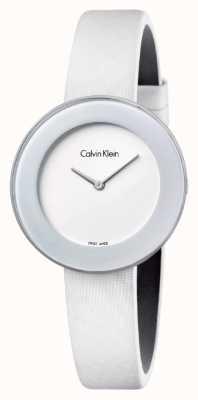 Calvin Klein Quadrante bianco cinturino in pelle bianca Womans bianco K7N23TK2