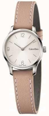 Calvin Klein Manopola bianca senza maniche di cuoio beige in pelle Womans K7V231Z6
