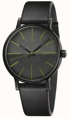 Calvin Klein Gli uomini aumentano gli indici verdi in pelle nera K7Y214CL