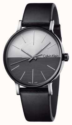 Calvin Klein Il maschio aumenta il quadrante del quadrante in pelle nera K7Y21CCX