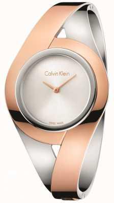 Calvin Klein Il quadrante argentato del braccialetto dell'acciaio inossidabile di Two tone di Womans sensuale K8E2S1Z6