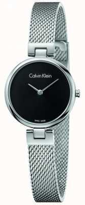Calvin Klein Il quadrante nero del braccialetto della maglia dell'acciaio inossidabile di Womans K8G23121