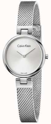 Calvin Klein Il quadrante argentato del braccialetto della maglia dell'acciaio inossidabile di Womans K8G23126