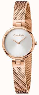 Calvin Klein Braccialetto autentico pvd del womans placcato oro rosa della maglia K8G23626