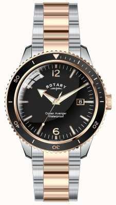 Rotary Orizzonte oceano di uomini due quadranti nero GB02695/04