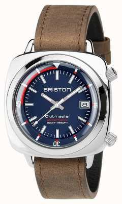 Briston Unisex clubmaster diver marcia automatica in pelle spazzolata in acciaio 17642.PS.D.15.LVBR