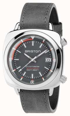 Briston Unisex clubmaster diver in acciaio spazzolato in pelle grigio auto 17642.PS.D.17.LVB