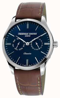 Frederique Constant Quadrante blu cinturino in pelle marrone in quarzo classico FC-259NT5B6