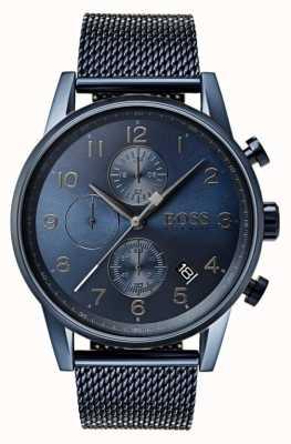 Hugo Boss Vigilanza metallica della maglia del cronografo blu del navigatore degli uomini 1513538