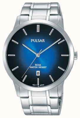 Pulsar Quadrante di gradazione blu del braccialetto d'acciaio dell'argento del mens PS9527X1