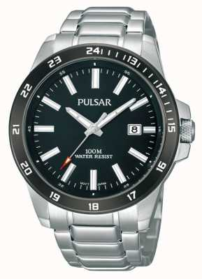 Pulsar Quadrante nero in bracciale in acciaio inox PS9223X1