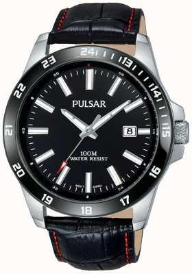 Pulsar Quadrante nero in cinturino in pelle nera PS9463X1