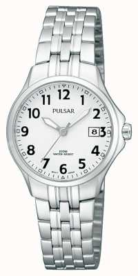 Pulsar Quadrante bianco semplice del braccialetto dell'acciaio inossidabile di Womans PH7221X1