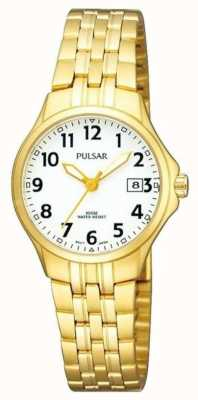 Pulsar Il quadrante bianco del braccialetto dell'acciaio inossidabile placcato oro delle donne PH7224X1