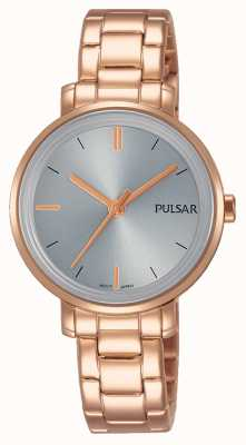 Pulsar Il quadrante grigio del braccialetto dell'acciaio inossidabile dell'oro del womans PH8362X1