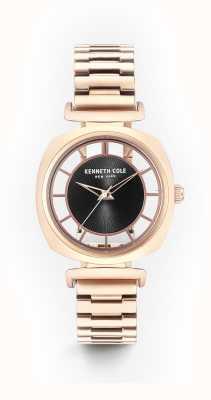 Kenneth Cole Braccialetto d'acciaio in oro rosa di trasparenza nero di Womans KC15108001