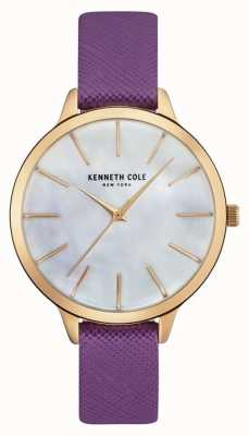 Kenneth Cole Cinturino in pelle viola in madreperla di madreperla KC15056002