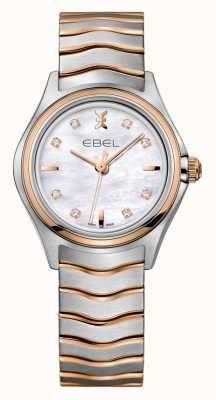 EBEL Orologio da donna in oro rosa con due diamanti a onda 1216324