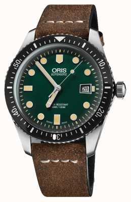 Oris Divers sessantacinque cinturino in pelle marrone automatico a quadrante verde 01 733 7720 4057-07 5 21 02