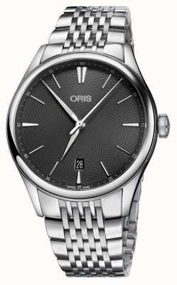 Oris Artelier data quadrante grigio automatico in acciaio inox 01 733 7721 4053-07 8 21 79