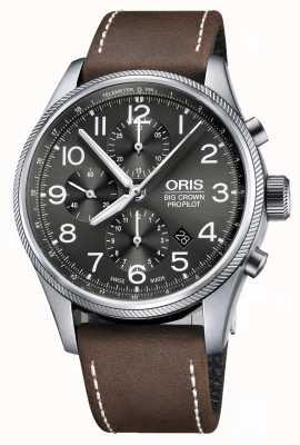 Oris Cinghia di cuoio marrone cronografo automatico di grande crown propilota 01 774 7699 4063-07 5 22 05FC