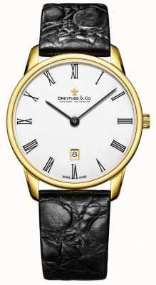 Dreyfuss Cinturino in pelle uomo in oro 1980 con orologio placcato oro DGS00136/01