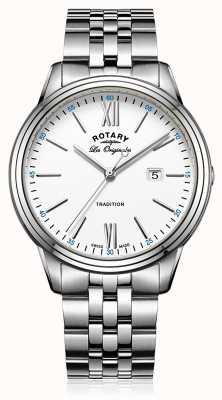 Rotary Quadrante bianco in bracciale in acciaio inox GB90194/01