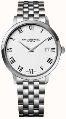 Raymond Weil Quadrante bianco con quadrante in acciaio inossidabile 5588-ST-00300