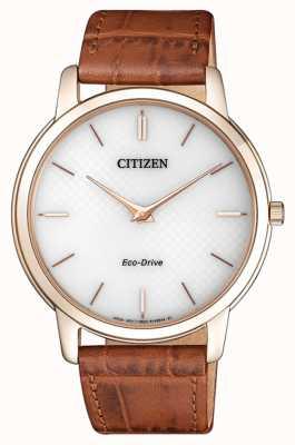 Citizen Cinturino in pelle marrone ultra-sottile stiletto uomo eco-drive AR1133-15A