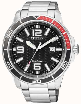 Citizen Quadrante nero in acciaio inox eco-drive uomo AW1520-51E