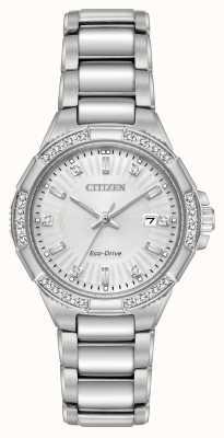 Citizen Coppia di diamanti Riva eco-drive in acciaio inossidabile EW2460-56A