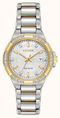 Citizen Orologio in acciaio inossidabile a due toni di diamanti della riva delle donne EW2464-55A