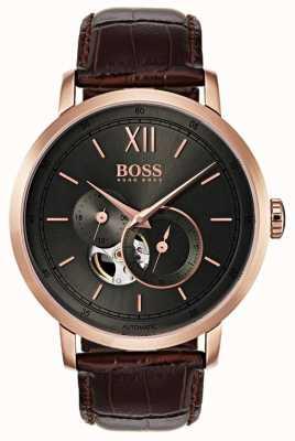 Boss Orologio da uomo automatico in pelle marrone 1513506