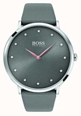 Hugo Boss Cuoio grigio orologio da donna jillian Womans 1502413