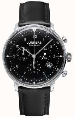 Junkers Cinturino in pelle nera uomo cronografo bauhaus 6086-2