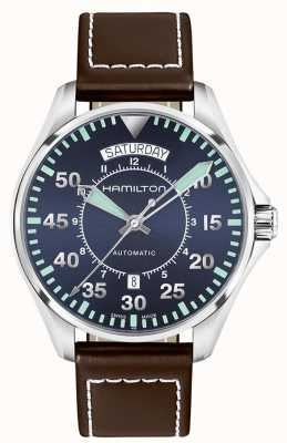 Hamilton Pelle autentica Khaki 42mm marrone H64615545
