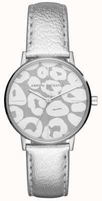 Armani Exchange Cassa in acciaio inox cinturino in pelle argento lola AX5539