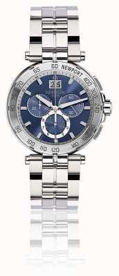 Michel Herbelin Quadrante blu del braccialetto dell'acciaio inossidabile del cronografo del newport 36696/B35