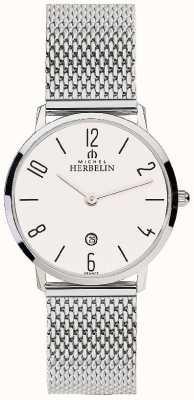 Michel Herbelin Quadrante bianco della cinghia in rete in acciaio inox donna 16915/21B