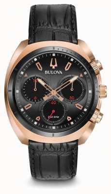 Bulova Cuoio nero in cronografo curva da uomo sportivo 98A156