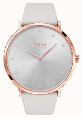 Hugo Boss Cuoio grigio in oro rosa brillante Womans 1502412