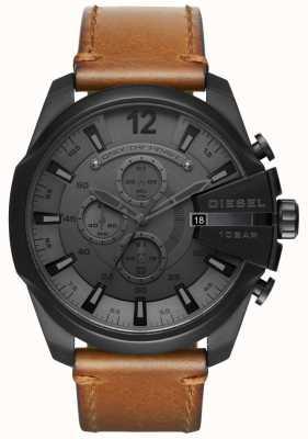 Diesel Mens mega chief watch quadrante nero cinturino in pelle marrone DZ4463