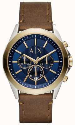 Armani Exchange Cinturino in pelle marrone cronografo blu AX2612