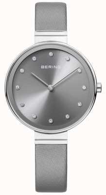 Bering Womans classico sottile grigio satinato in pelle 12034-609